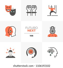 Modern flat icons set of mental problem, emotional stress, empathy. Unique color flat graphics elements with stroke lines. Premium quality vector pictogram concept for web, logo, branding, infographic