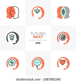 Modern flat icons set of mindfulness training, meditation practice. Unique color flat graphics elements with stroke lines. Premium quality vector pictogram concept for web, logo, branding, infographic