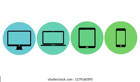 Modern flat icons. Set of monitor, tablet, laptop and smart phone.  Vector illustration.
