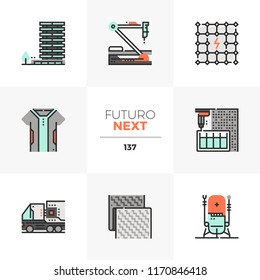 Modern flat icons set of new textile, autonomous truck, hi-tech nanorobotics. Unique color flat graphics elements with stroke line. Premium quality vector pictogram concept for web, logo, infographics
