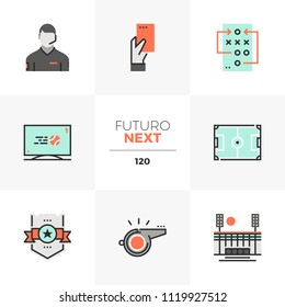 Modern flat icons set of playing soccer, professional football game. Unique color flat graphics elements stroke lines. Premium quality vector pictogram concept for web, logo, branding, infographics.