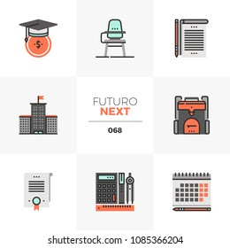 Modern flat icons set of school education costs, university campus. Unique color flat graphics elements with stroke lines. Premium quality vector pictogram concept for web, logo, branding, infographic