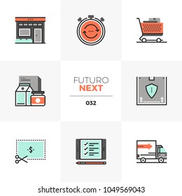 Modern flat icons set of shopping store, discount product delivery. Unique color flat graphics elements with stroke lines. Premium quality vector pictogram concept for web, logo, branding, infographic