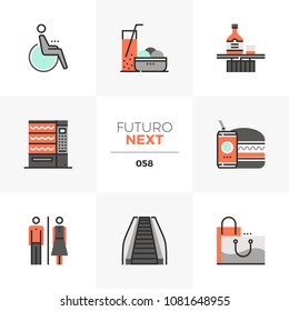 Modern flat icons set of shopping center leisure, food and drink. Unique color flat graphics elements with stroke lines. Premium quality vector pictogram concept for web, logo, branding, infographics.