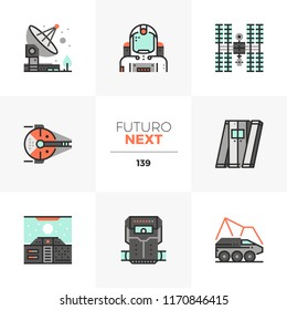 Modern flat icons set of space mission, spaceship travel, radio signal. Unique color flat graphics elements with stroke lines. Premium quality vector pictogram concept for web, logo, infographics.
