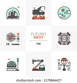 Modern flat icons set of space exploration, extraterrestrial life research. Unique color flat graphics elements with stroke lines. Premium quality vector pictogram concept for web, logo, infographics.