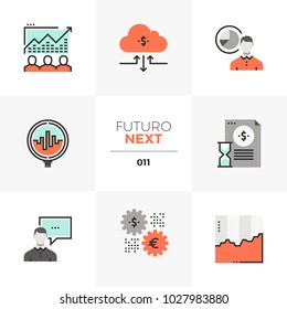 Modern flat icons set of stock market data, trading securities. Unique color flat graphics elements with stroke lines. Premium quality vector pictogram concept for web, logo, branding, infographics.