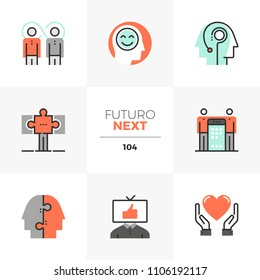 Modern flat icons set of synergy mind, success business partnership. Unique color flat graphics elements stroke lines. Premium quality vector pictogram concept for web, logo, branding, infographics.