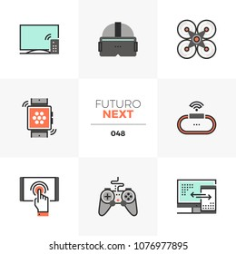 Modern flat icons set of modern technology gadgets for entertainment. Unique color flat graphics elements, stroke lines. Premium quality vector pictogram concept for web, logo, branding, infographics.