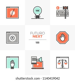 Modern flat icons set of trademark registration, open content policy. Unique color flat graphics elements stroke lines. Premium quality vector pictogram concept for web, logo, branding, infographics.