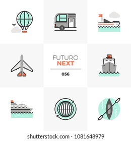 Modern flat icons set of transportation vehicles, traveling transport. Unique color flat graphics elements, stroke lines. Premium quality vector pictogram concept for web, logo, branding, infographics