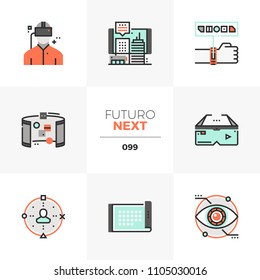 Modern flat icons set of virtual reality headset, future technology. Unique color flat graphics elements stroke lines. Premium quality vector pictogram concept for web, logo, branding, infographics.