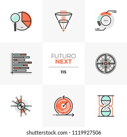 Modern flat icons set of visual data charts, visualization template. Unique color flat graphics elements stroke lines. Premium quality vector pictogram concept for web, logo, branding, infographics.