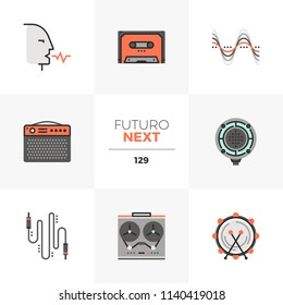 Modern flat icons set of voice over speech, reel to reel tape recording. Unique color flat graphics elements stroke line. Premium quality vector pictogram concept for web, logo, branding, infographics