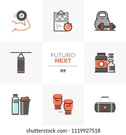 Modern flat icons set of weight lifting, sports nutrition container. Unique color flat graphics elements stroke lines. Premium quality vector pictogram concept for web, logo, branding, infographics.