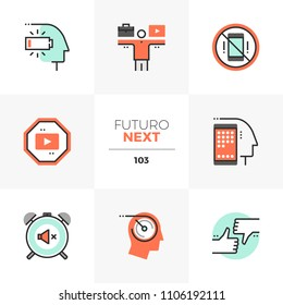 Modern flat icons set of work life balance, social media distraction. Unique color flat graphics elements stroke lines. Premium quality vector pictogram concept for web, logo, branding, infographics.