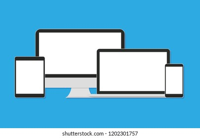 Modern flat icons touching tablet, laptop and smart phone