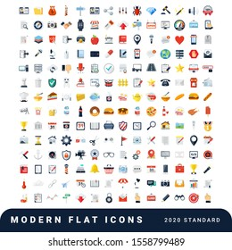 Modern flat icons vector collection of 2020 standard. File, calendar, volume, shield, cyber security, settings, notification, contacts, hamburger, donuts, home, movie, calendar line icon for web.EPS10