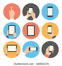 Modern flat icons vector collection in stylish retro colors of mobile phone and digital tablet using with hand touching screen symbol. Isolated on white background.