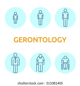 Modern flat icons vector collection of gerontology items, icon showing different human age, from little child to old man. Infographic icon set, logo abstract design pictogram vector concept.