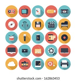 Modern flat icons vector illustration collection with long shadow design in stylish colors of multimedia symbols, sound instruments, audio and video items and objects. Isolated on white background.