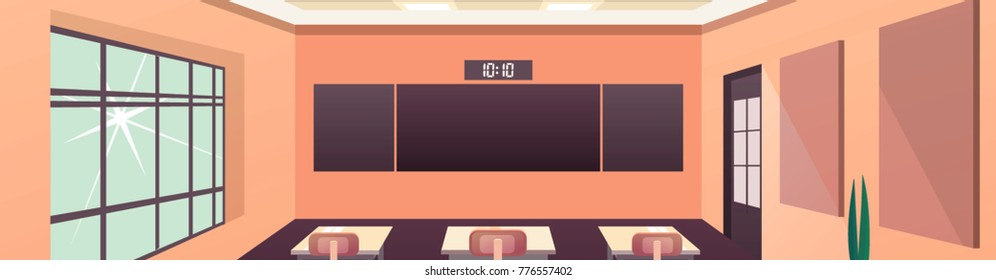 Modern flat illustration. Education background. Empty school classroom. Classroom interior. Meeting room. Horizontal Panorama Banner