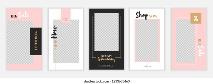 Modern flat Instagram stories template, for blog and sales, web online shopping banner concept.Minimalistic geometric trendy sale app screens, ready to use button Shop Now