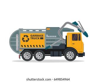 Modern Flat Isolated Garbage Truck Illustration