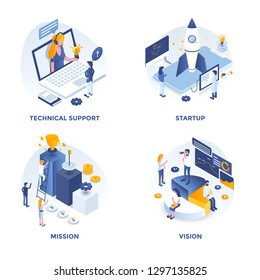 Modern Flat Isometric designed concept icons for Technical support, Startup, Mission and Vision. Can be used for Web Project and Applications. Vector Illustration