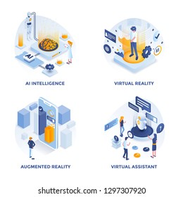 Modern Flat Isometric designed concept icons for AI Intelligence, Virtual Reality, Augmented Reality and Virtual Assistant. Can be used for Web Project and Applications. Vector Illustration