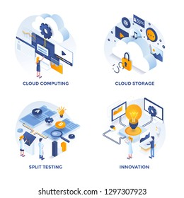 Modern Flat Isometric designed concept icons for Cloud Computing, Cloud Storage, Split Testing and Innovation. Can be used for Web Project and Applications. Vector Illustration