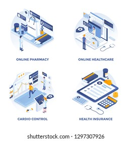 Modern Flat Isometric designed concept icons for Online Pharmacy, Online Healthcare, Cardio Control and Health Insurance. Can be used for Web Project and Applications. Vector Illustration