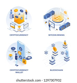 Modern Flat Isometric designed concept icons for Cryptocurrency, Cryptocurrency wallet, Bitcoin mining and Blockchain. Can be used for Web Project and Applications. Vector Illustration