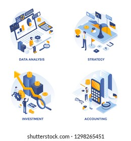Modern Flat Isometric designed concept icons for Data Analysis, Strategy, Investment and Accounting. Can be used for Web Project and Applications. Vector Illustration