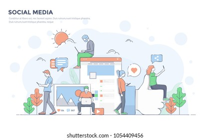 Modern flat line color design, hand drawn Line Business concept for SocialMedia, easy to use and highly customizable. Modern vector illustration concept, isolated on white background.