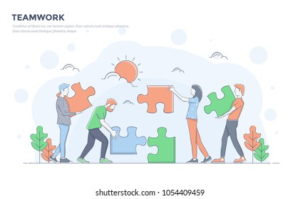 Modern flat line color design, hand drawn Line Business concept for Teamwork, easy to use and highly customizable. Modern vector illustration concept, isolated on white background.