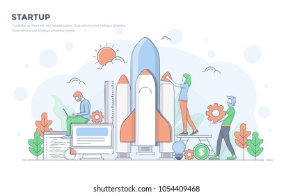 Modern flat line color design, hand drawn Line Business concept for Startup, easy to use and highly customizable. Modern vector illustration concept, isolated on white background.