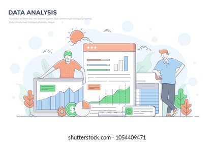 Modern flat line color design, hand drawn Line Business concept for Data Analysis, easy to use and highly customizable. Modern vector illustration concept, isolated on white background.