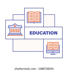 Modern Flat Line Color illustration Concept for Education. Concepts web banner and printed materials. Vector Illustration