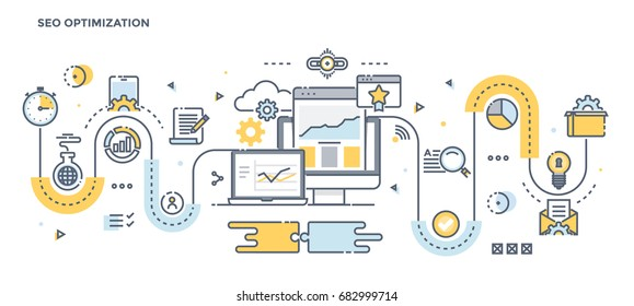Modern Flat Line Color illustration Concept for Seo Optimization. Concepts web banner and printed materials. Vector Illustration