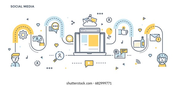 Modern Flat Line Color illustration Concept for Social Media. Concepts web banner and printed materials. Vector Illustration