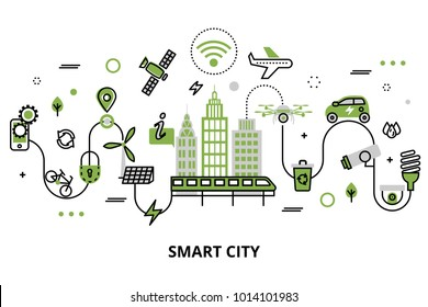 Modern flat line design, concept of smart city, technologies of future and urban innovations, for graphic and web design