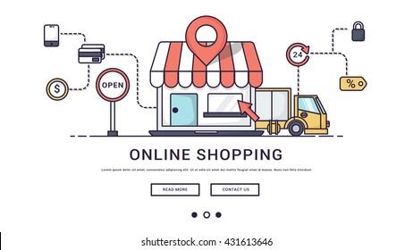 Modern Flat line design concept of online shopping.banner.