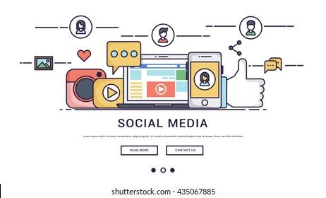 Modern Flat line design concept of social media.banner.