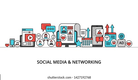 Modern flat line design vector illustration, concept of social media and social networking, for graphic and web design
