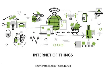 Modern flat line design vector illustration, concept of internet of things, in greenery color, for graphic and web design
