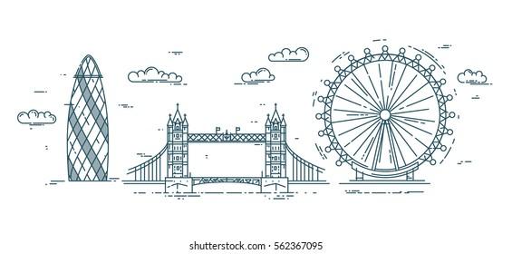 Moderne flache Vektorgrafik mit Londoner Wahrzeichen.