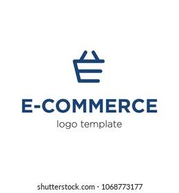 Modern flat logo template for ecommerce, online shop. Vector illustration.