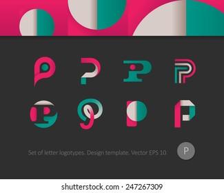 Modern flat logotypes. Letter P icon.
