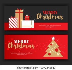 Modern flat Merry Christmas New Year greeting cards vertical banners concept.NewYear gift boxes,new year tree,ornament balls,christmas star celebration postcards on red black background